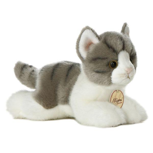 53aea8b634e3 Realistic Stuffed Gray Cat 8 Inch Plush Tabby Cat By Aurora at Stuffed  Safari