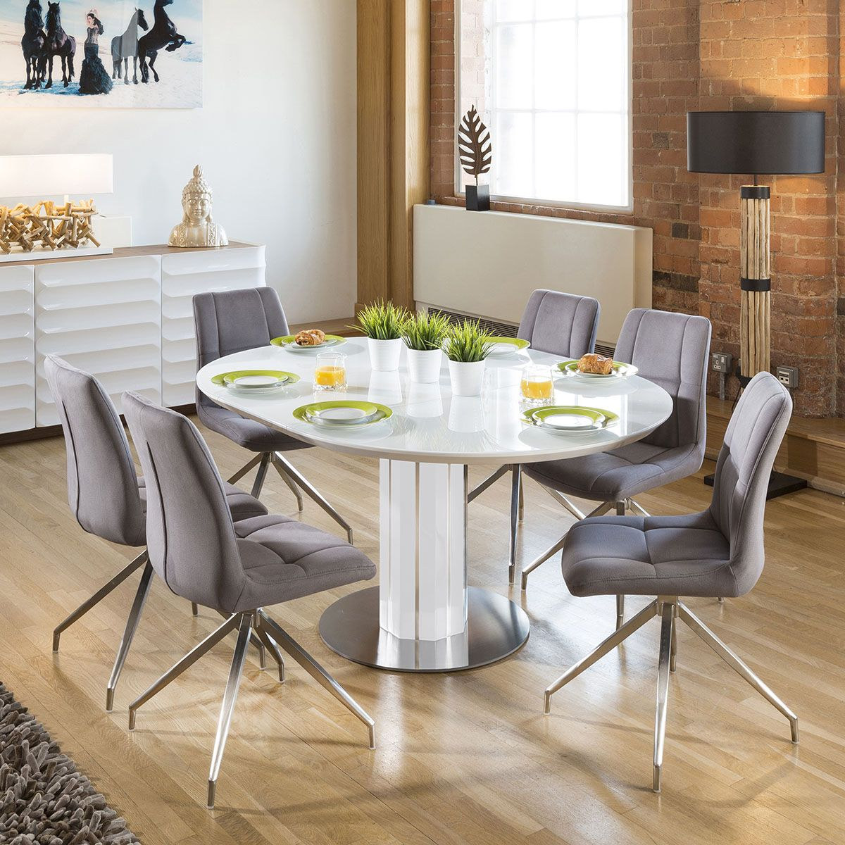 Modern Extending Dining Set Oval / Round Glass Wht Table 9 Gry ...