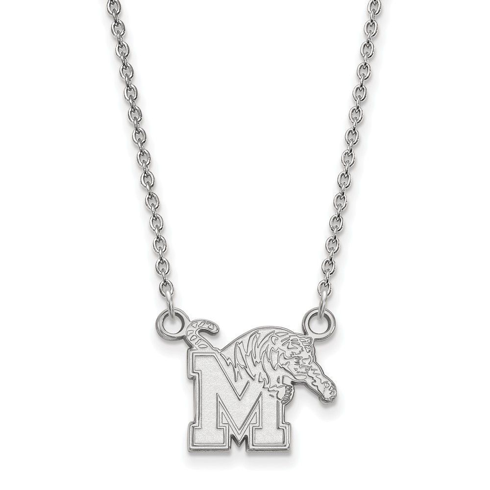 Sterling Silver LogoArt University of Memphis Small Pendant w/Necklace