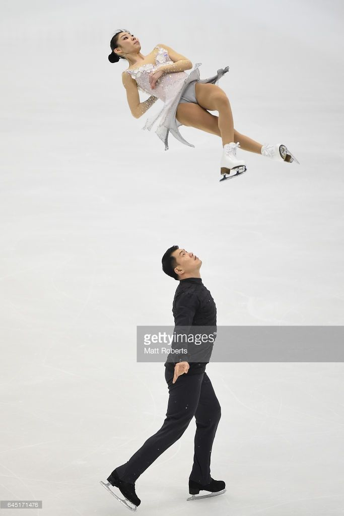 Hao Zhang and Xiaoyu Yu of China compete in the pairs figure skating on the day eight of the 2017 Sapporo Asian Winter Games at Makomanai indoor skating rink on February 25, 2017 in Sapporo, Japan.