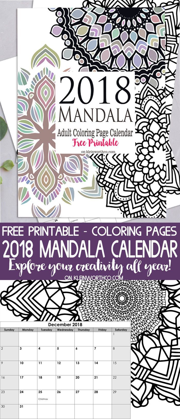 mandala adult coloring page calendar is a free printable to