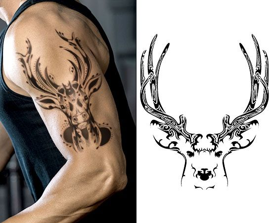 powerful deer skull tattoo tattoo ideas for tim pinterest deer skull tattoos tattoo and. Black Bedroom Furniture Sets. Home Design Ideas