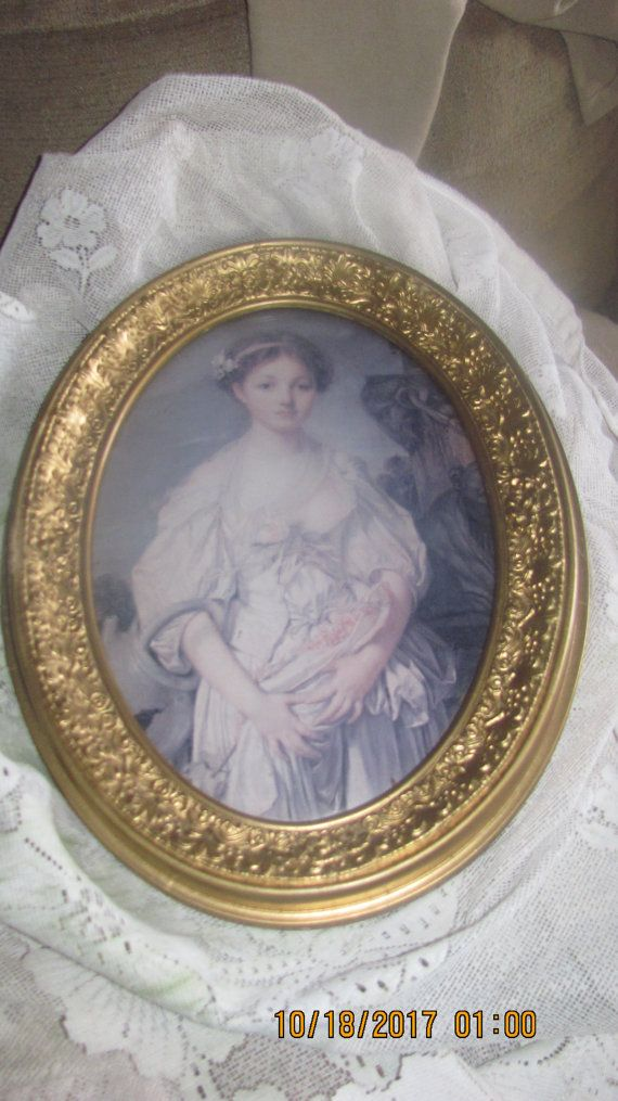 REDUCED FREE SHIP Antique Gold Gesso Framed Young Victorian Lady ...