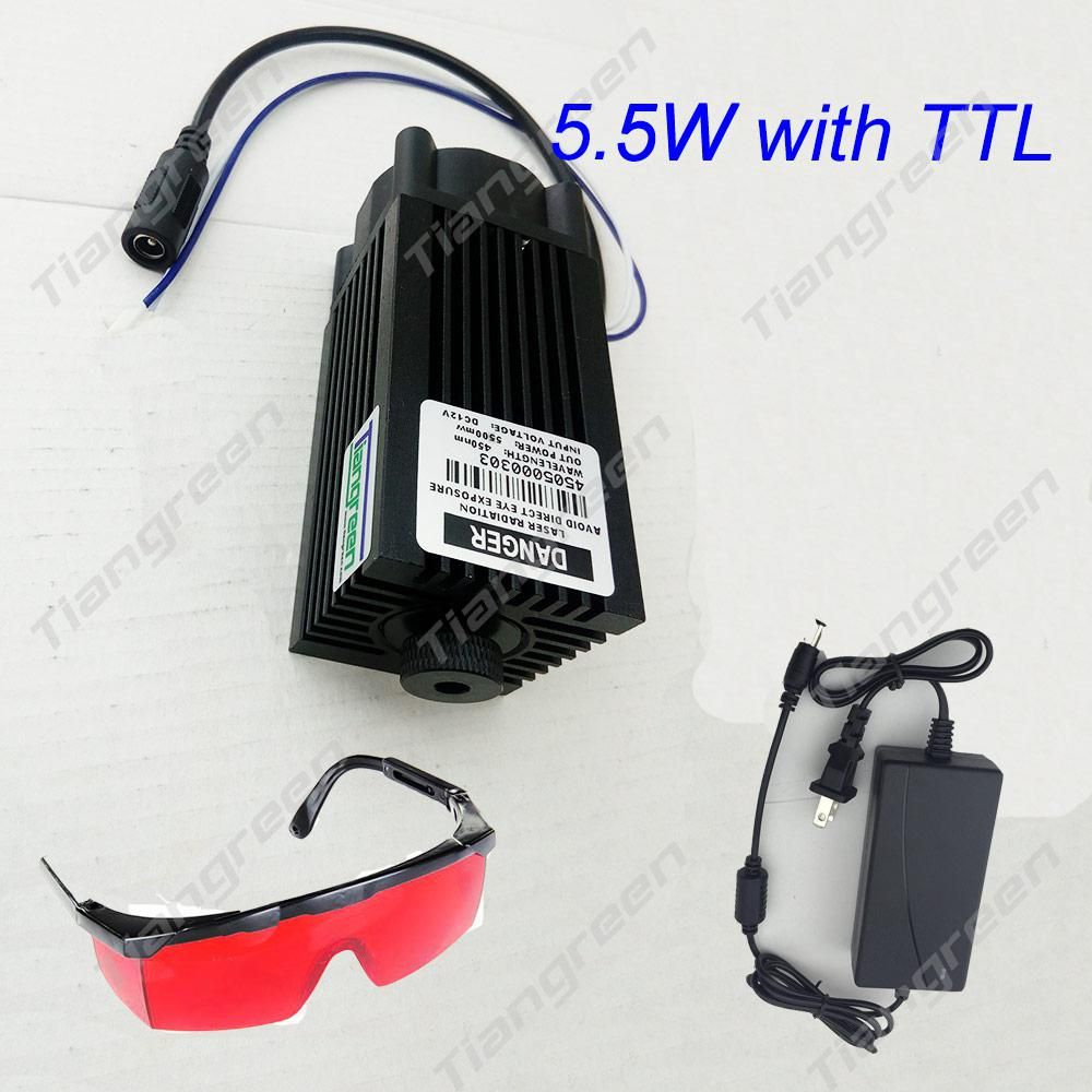 Woodworking Machinery & Parts 5.5w High Power 445nm Focusing Blue Laser Module Laser Engraving And Cutting Ttl Module 5500mw Laser Tube+goggles