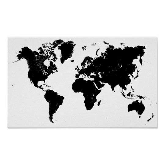 Minimalist Black And White World Map Poster Zazzle Com Map Wall Art Map Art World Map Art