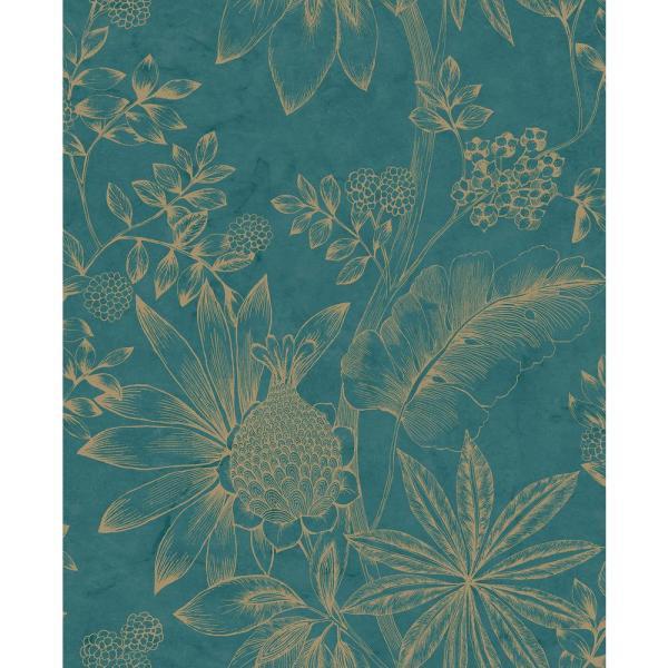 Brewster Kenitra Teal Botanical Wallpaper Sample, Blue in