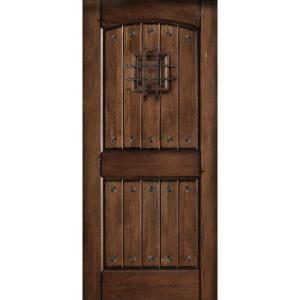 Main door rustic mahogany type prefinished distressed v groove solid wood speakeasy entry door for Distressed wood interior doors