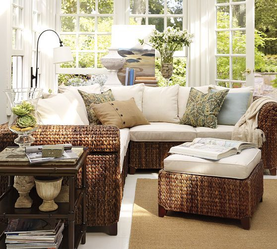Seagr Sectional Ottoman Pottery Barn Sunroom Furniture Rattan Ideas