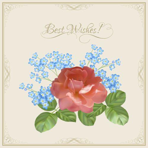 Vintage flower wishes cards design vector 01 Backgrounds - best of invitation card vector art