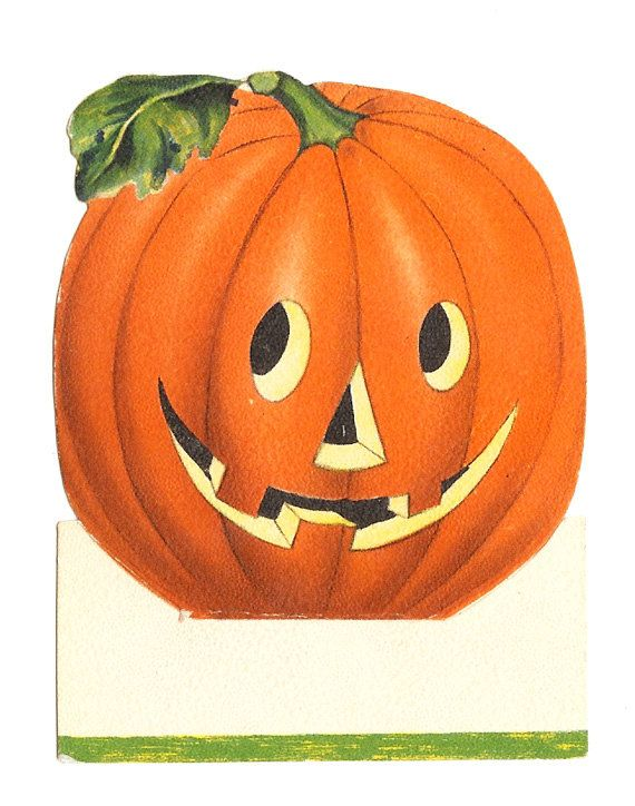 1940s Hallmark Halloween Place card-Pumpkin.