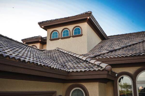 Brava Synthetic Spanish Composite Barrel Tile Mocha Color Roof Tiles Spanish Tile Roof Exterior Paint Colors For House