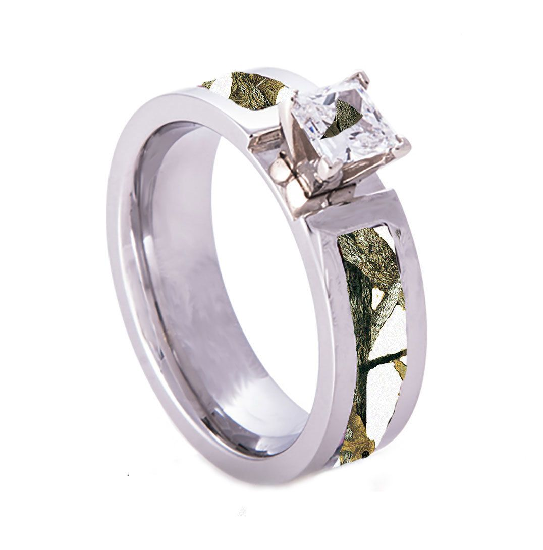 Beau Southern Sisters Designs   White Camo Wedding Engagement Ring Titanium With  CZ Stone, $59.95 (
