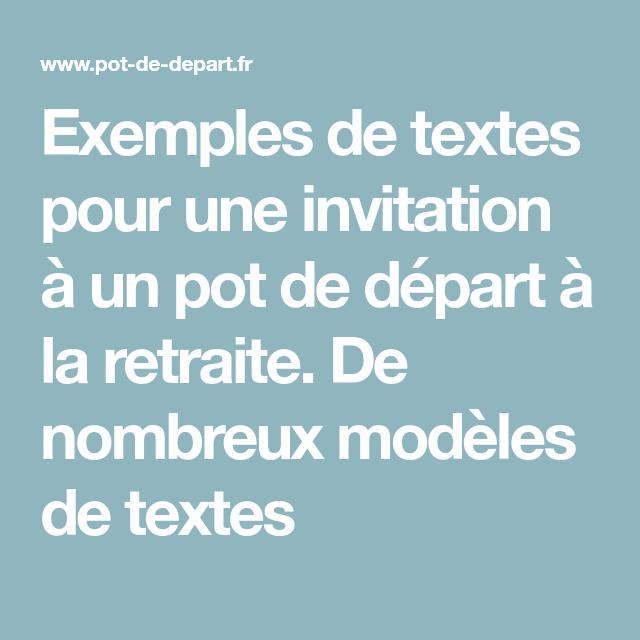 Incroyable Exemples de textes pour une invitation à un pot de départ à la GX-67