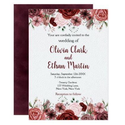 Rustic Burgundy Watercolor Floral Invitation Zazzle Com Watercolor Floral Invitation Wedding Invitations Floral Invitation