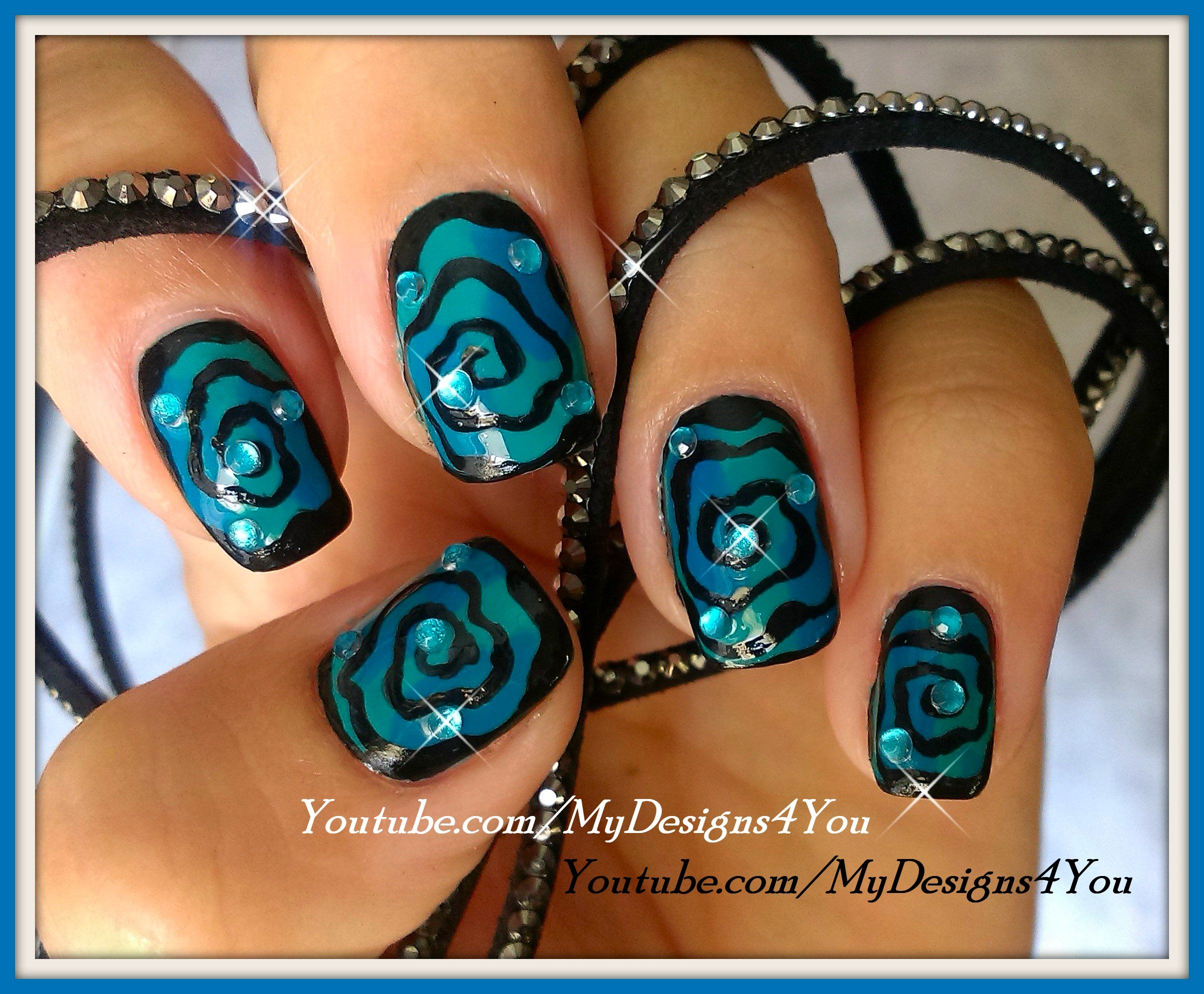 Hypnotic Swirl Halloween Nails | Spiral Nail Art #nails # ...