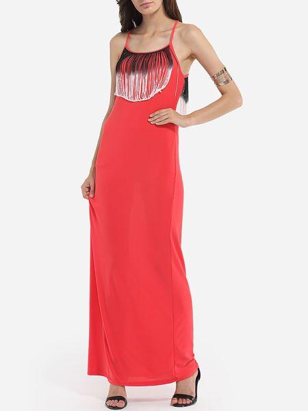 Tassel Spaghetti Strap Dacron Gradient Maxi-dress