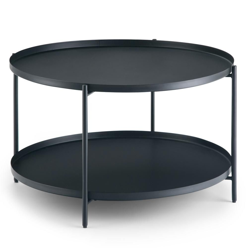 Simpli Home Monet 32 In Black Medium Round Metal Coffee Table With Shelf Axcmnt 01 The Home Depot Round Metal Coffee Table Metal Coffee Table Coffee Table With Shelf [ 1000 x 1000 Pixel ]