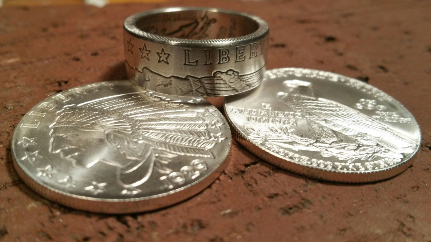 Incuse Indian Coin Ring Hand Forged 1 2 Oz Pure 999 Fine Silver Coin Ring Pure Products Coin Jewelry