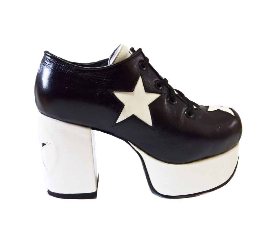 0676334c4d8d STARDUST Platform shoes in Black   White Handcrafted to order in London 3  White Star appliques on shoes