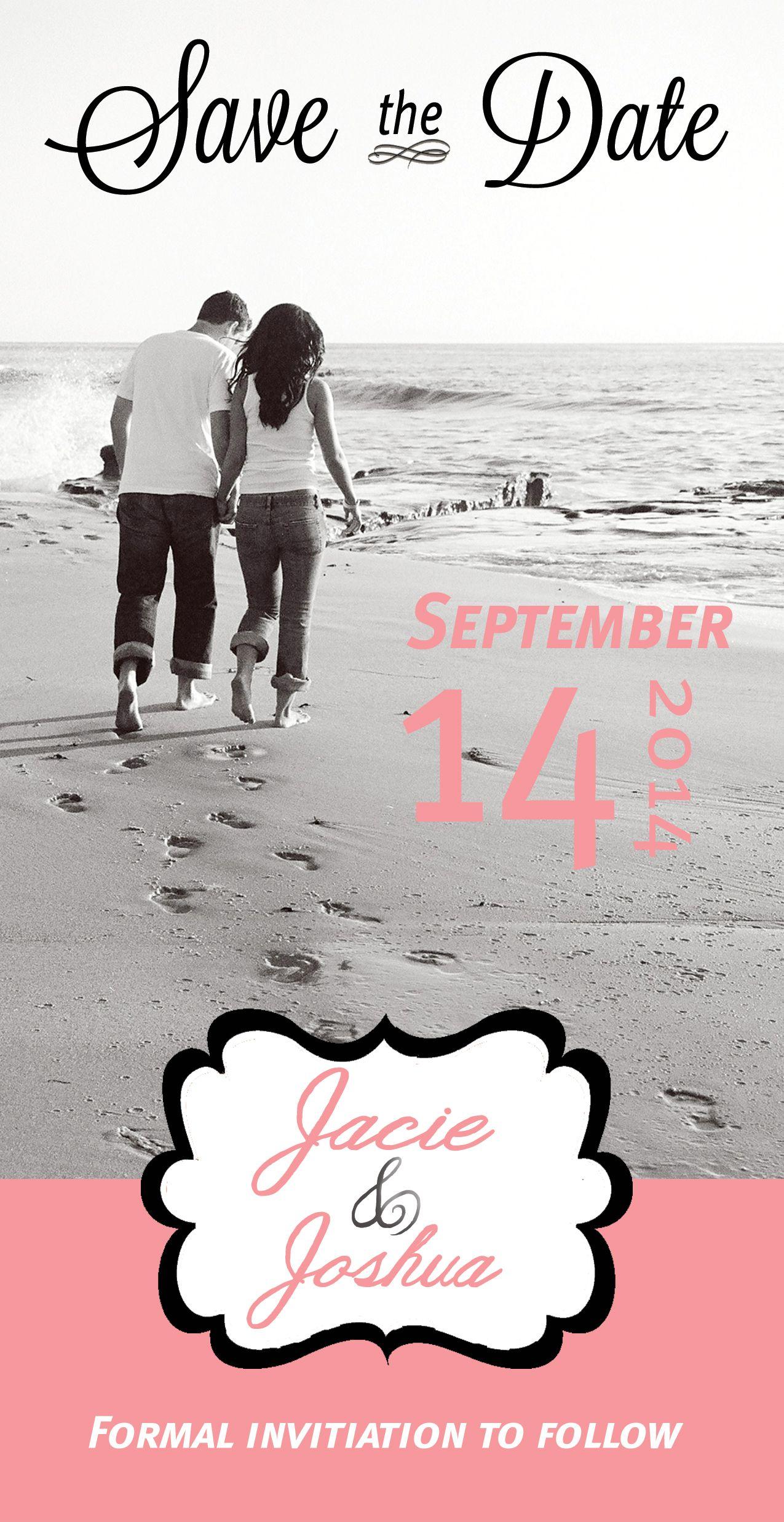 Beach Theme Save the Date , Template 2 Photo wedding