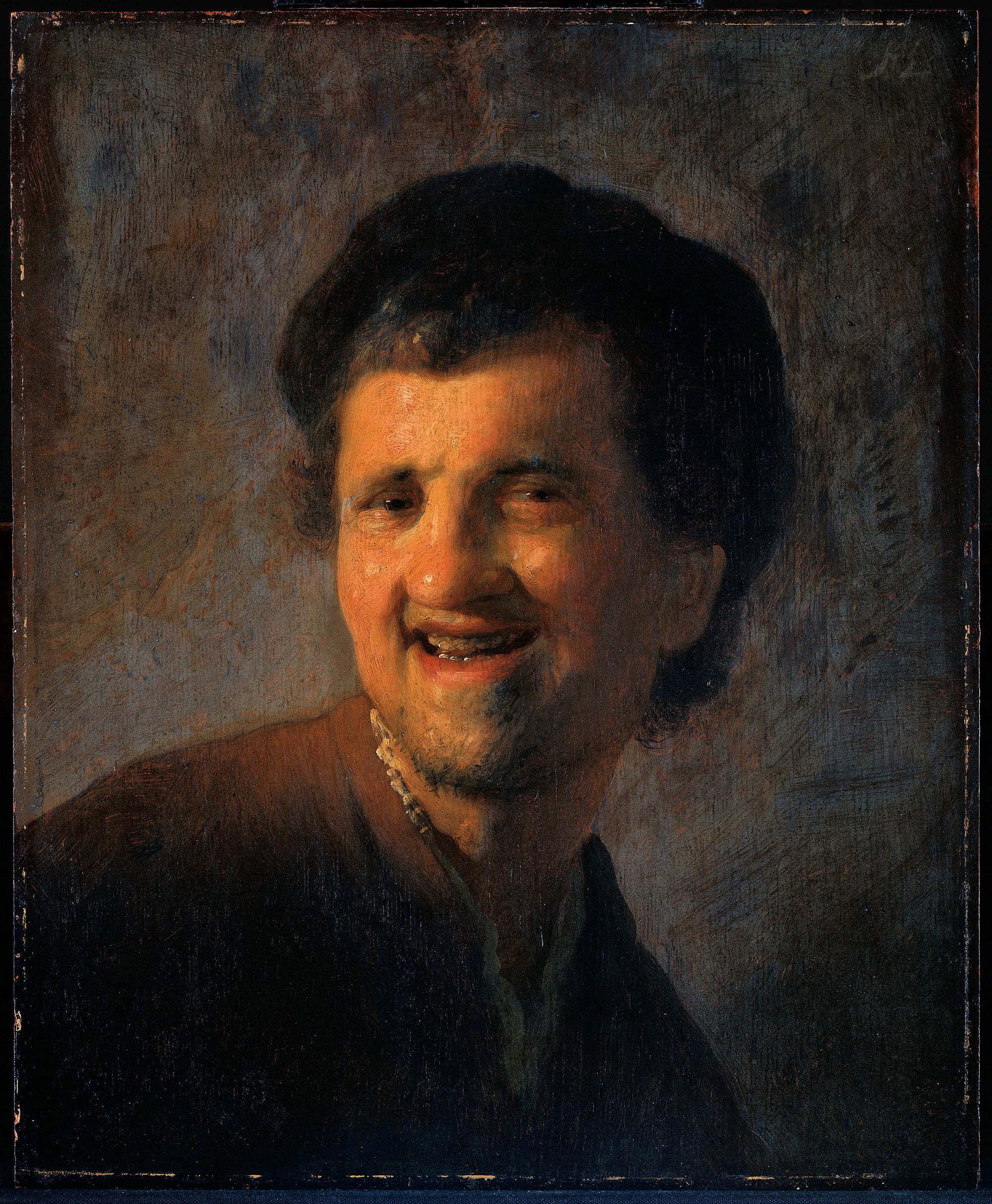 Young Man Smiling  Rembrandt, (1629) Oil Painting