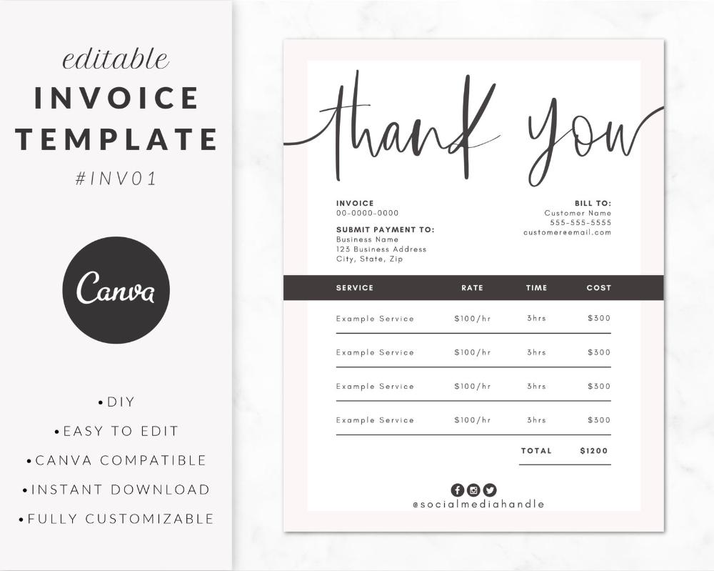 Invoice Template For Canva Invoice Design Order Form Etsy Invoice Design Invoice Template Canva Tutorial
