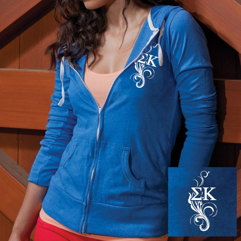 Sigma Kappa Ladies Heather Blue Light Weight Full-Zip