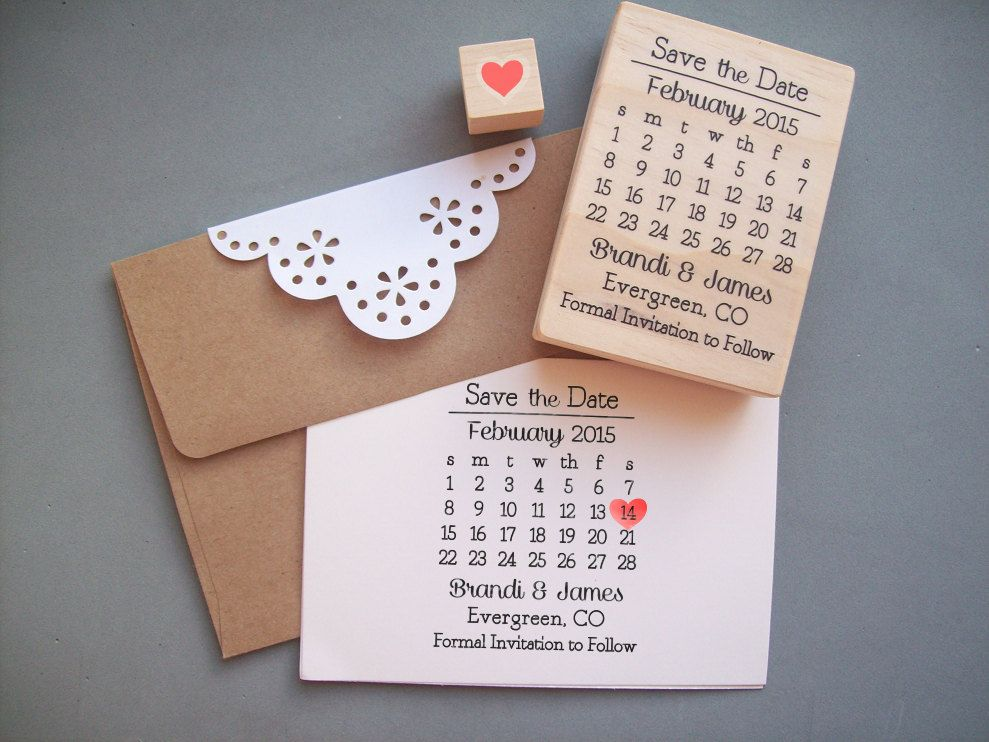 Save The Date Stamp Set Diy Calendar With Heart Over Your Names And Location Wedding Rubber 39 95