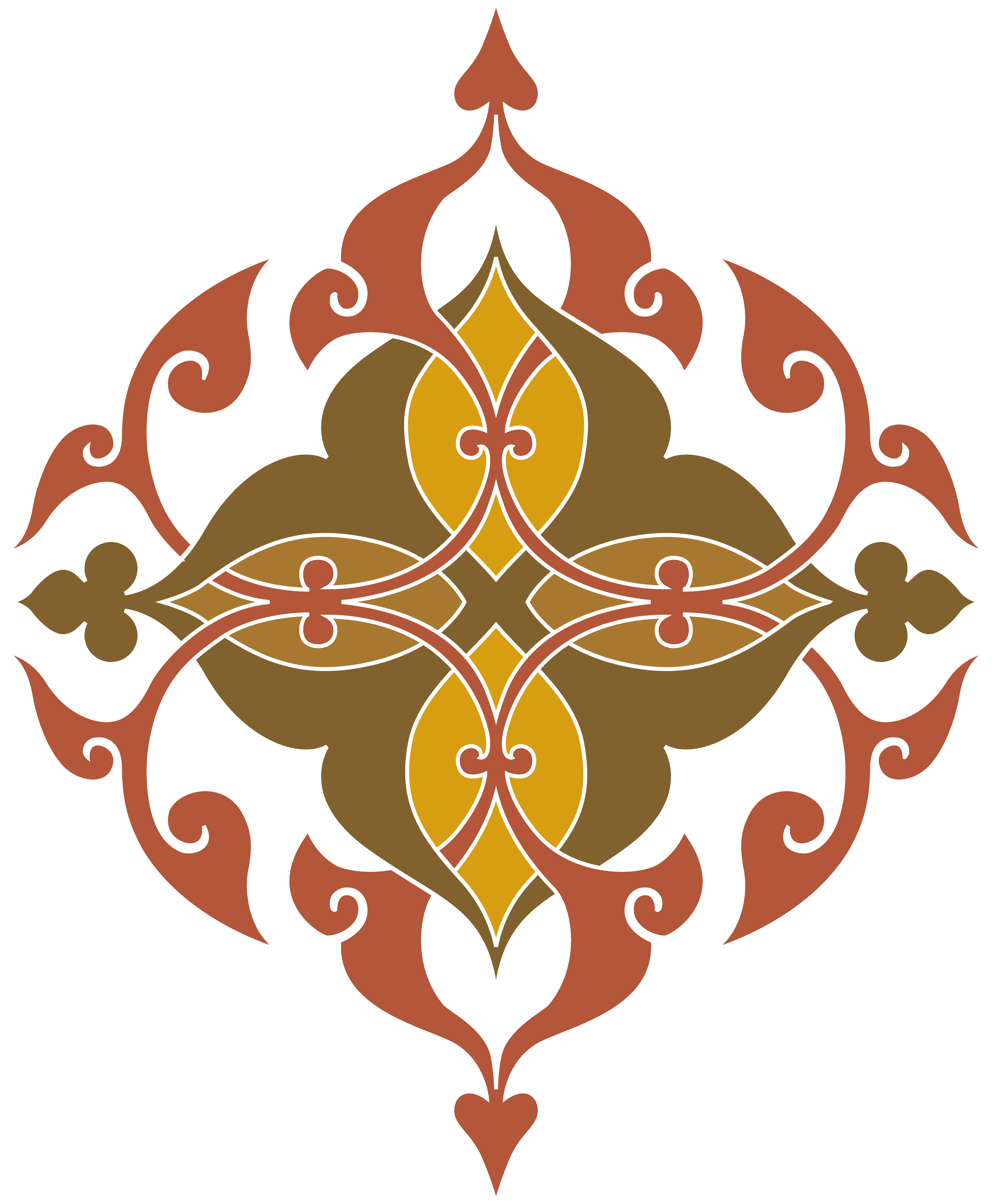 Clipart Of Yellow Brown And Red Fancy Design
