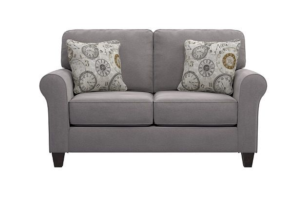 Best Aldy Loveseat And Pillows By Ashley Homestore Gray 400 x 300