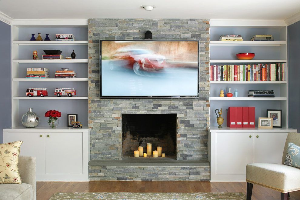 new york stacked stone tile family room contemporary with ...