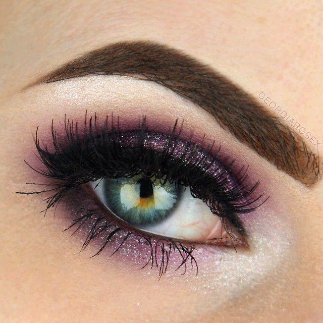 Purple Glittery Smokey Eye Makeup 4 Pinterest Eye Prom Make