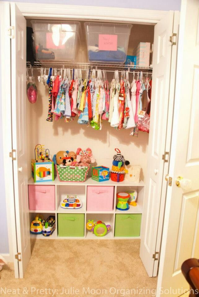 Great Mix Of Clothing And Toy Storage For A Small Child S Closet