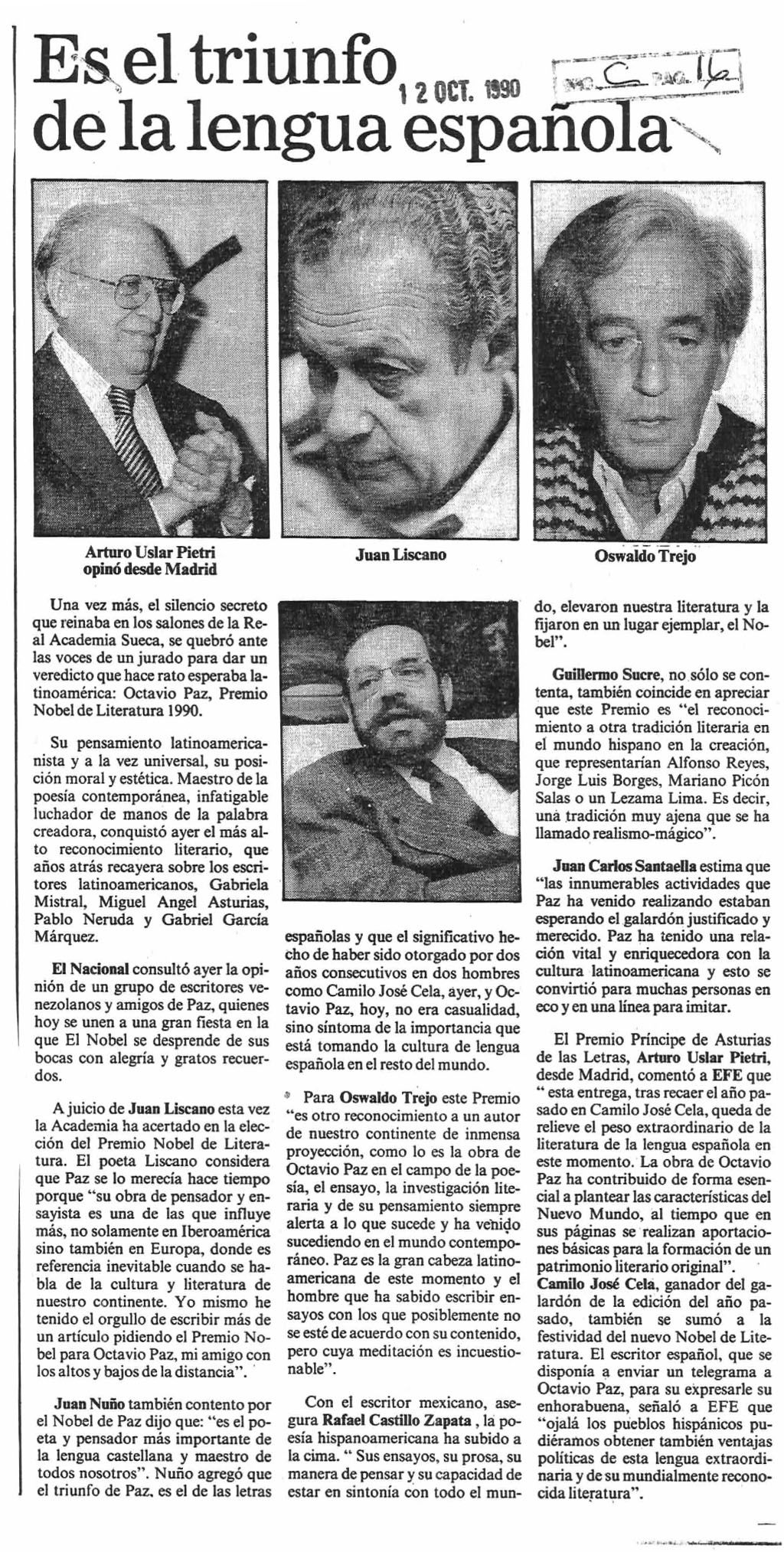 Opinión de intelectuales de Venezuela al enterarse del Nobel de Literatura para Octavio Paz. Publicado el 12 de octubre de 1990.