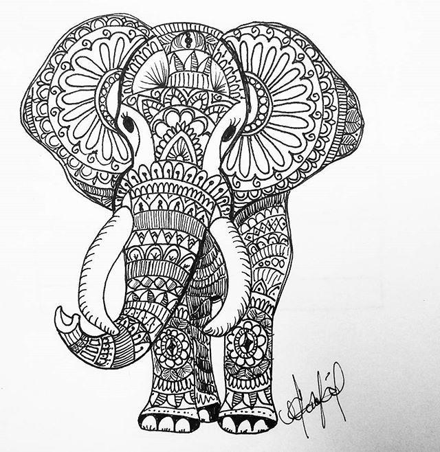 Amo Lo Que Hago Elephant Hindu Mandala Art Draw Sharpie Mandala Art Dibujos Drawing