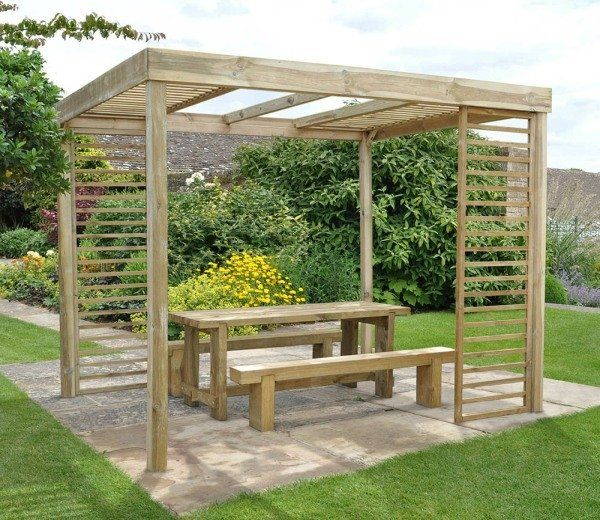 Dining Pergola 3m x 2.4m with Panels by Forest Garden - Forest 3m X 2.4m Dining Pergola With Panels Pergolas, Garden