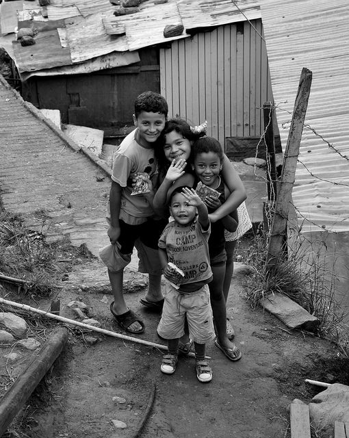 Kids living in the barrio of Alto 2, high in the mountains above Medellin, and home to families who have been displaced by Colombia's civil war.
