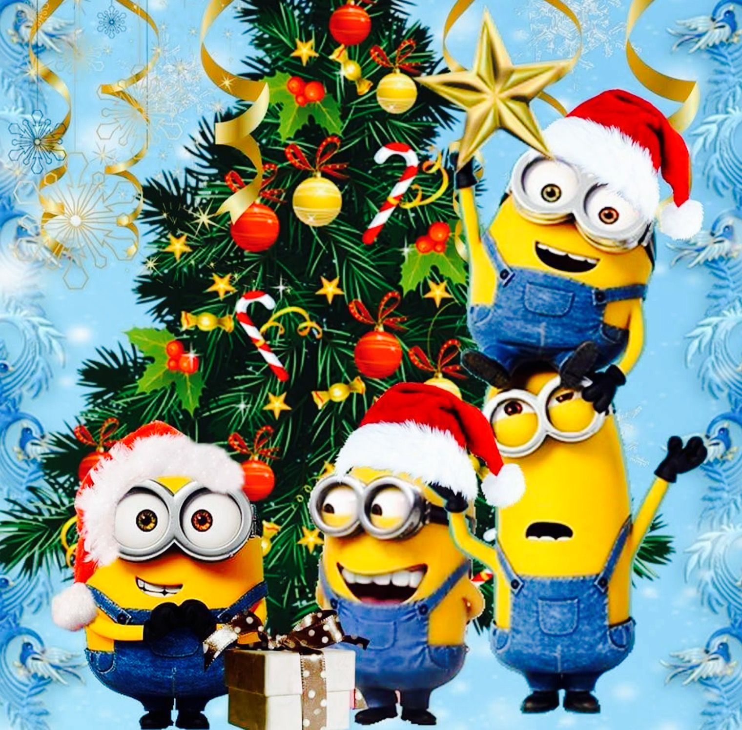 Pin By Gyurity Renata On Beautiful Happy Special Holiday Photoz D Minions Wallpaper Merry Christmas Minions Minion Christmas
