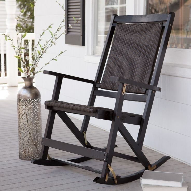 Shine Hampton Black Hardwood Porch Rocker In 2020 Rocking Chair