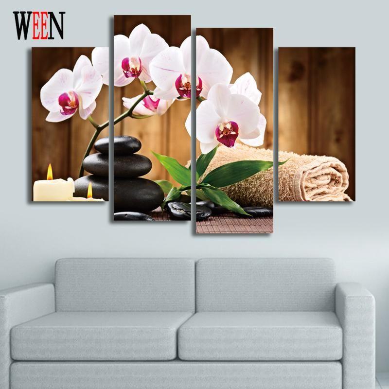 blume und stein 4 stück leinwand kunst für wohnzimmer moderne, Wohnzimmer