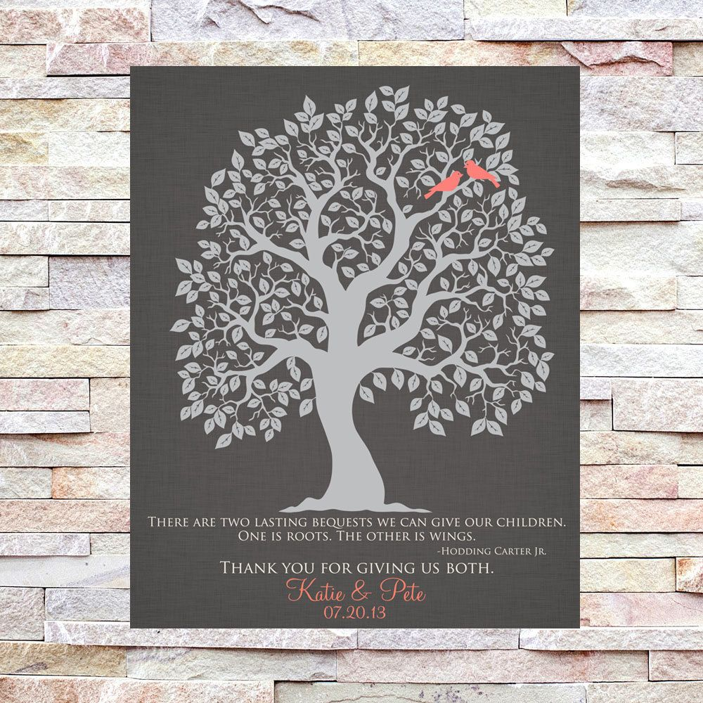 Parents Gift, Grooms Parents, Brides Parents, Wedding Thank You Gift, Mother of the Groom, Mother of the Bride, Wedding Tree by TheFreckledOwlPrints on Etsy