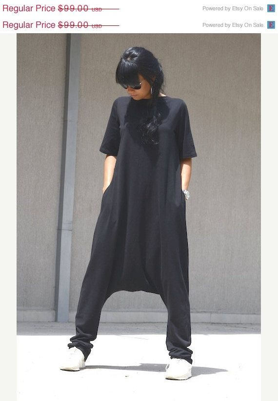 Maxi jumpsuit, drop crotch jumpsuit, harem jumpsuit, plus size ...