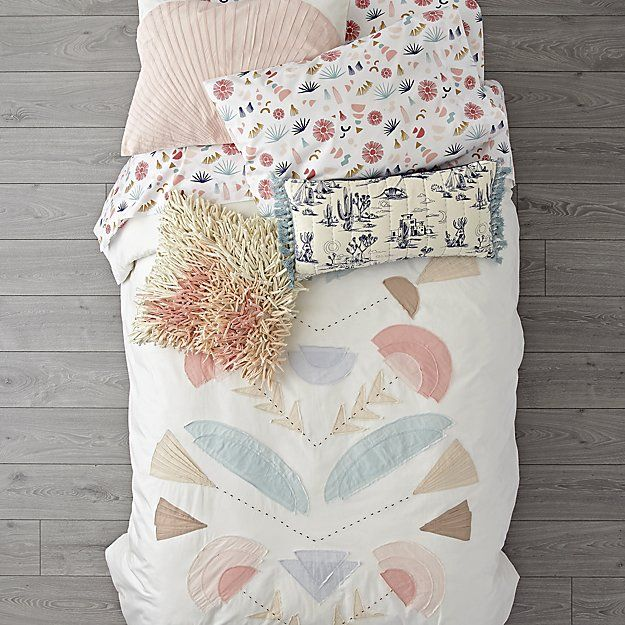Photo of Desert Flora Embroidered Duvet Cover | Crate and Barrel