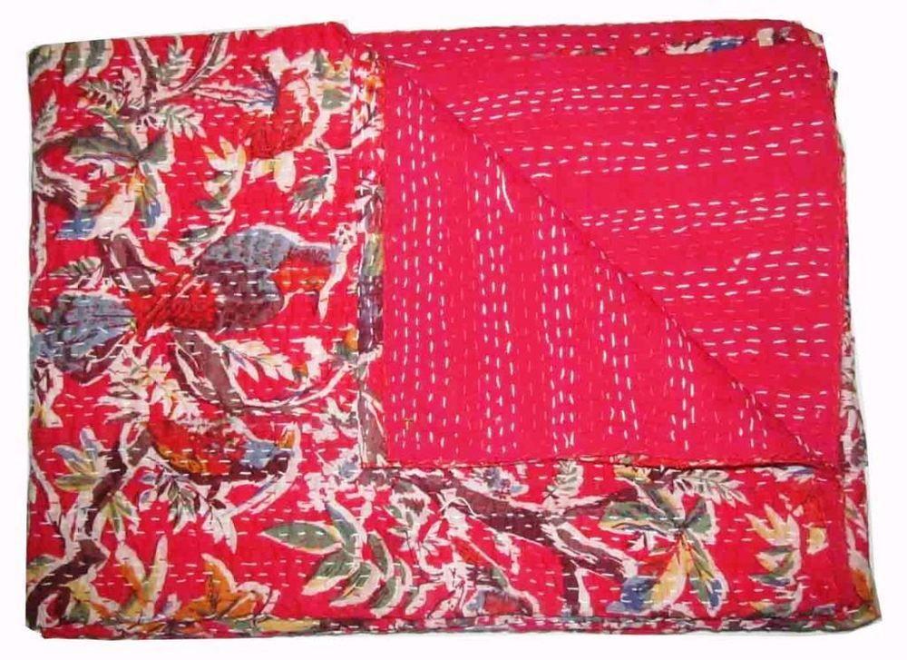 Handmade Quilt Vintage Kantha Bedspread Throw Cotton Blanket Gudari Red Bird