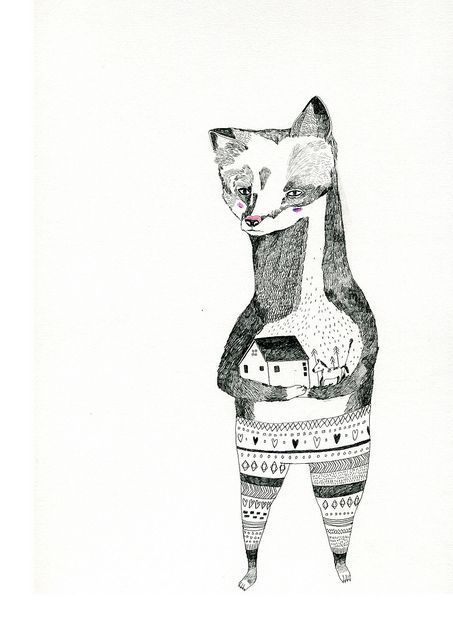 Black & White Patterned Fox