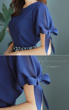 Ribbon Detail Slit Sleeve Blouse