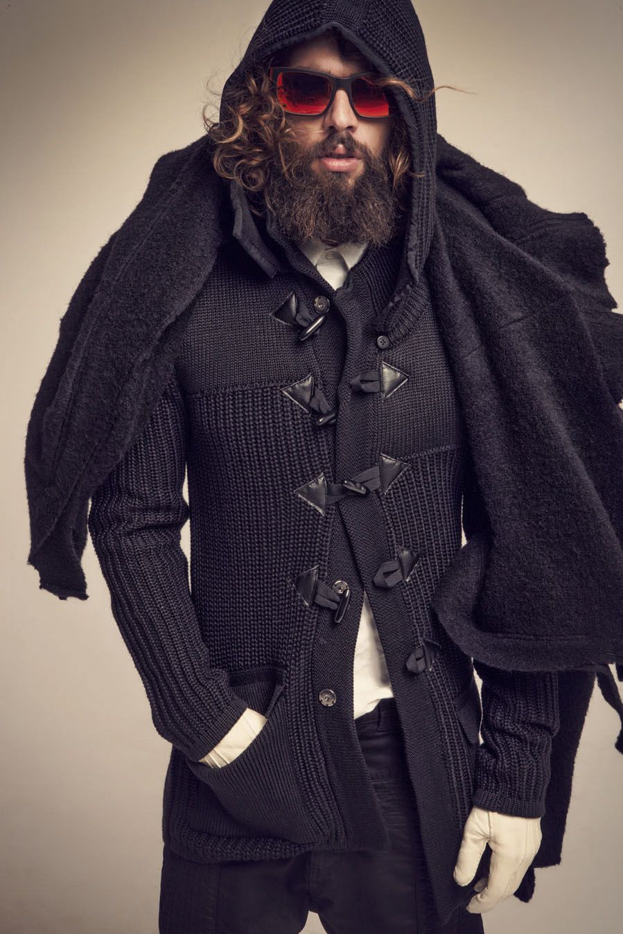 Tailor Made Aw12 13 Lookbook Mens Hooded Black Knitted Toggle Detail Cardigan Stylish Men Mens Outfits Mens Fashion