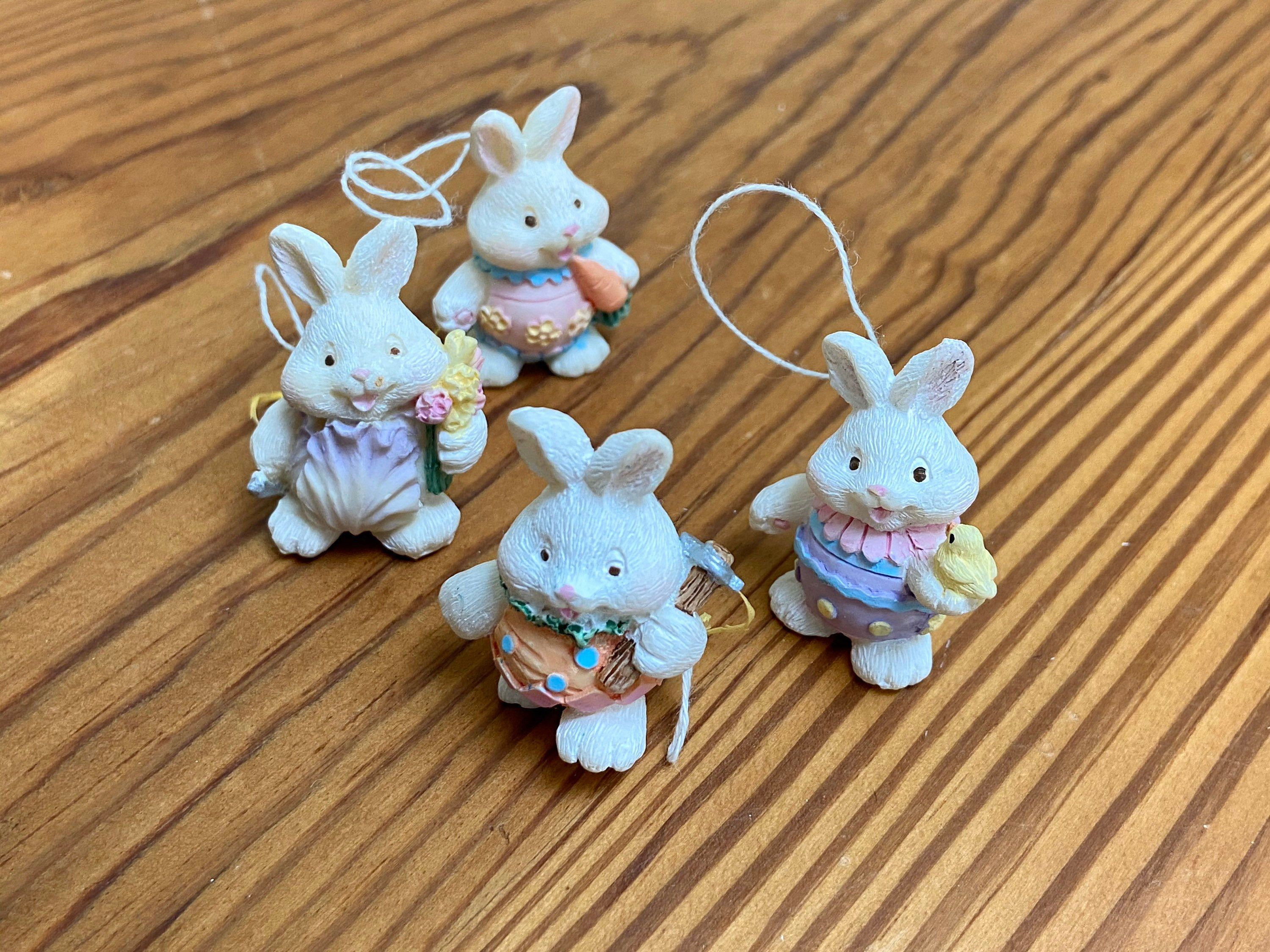 vintage Easter miniature wooden rabbits or bunnies ornaments: 4 female figurines playing instrument flower scene,handmade handpainted