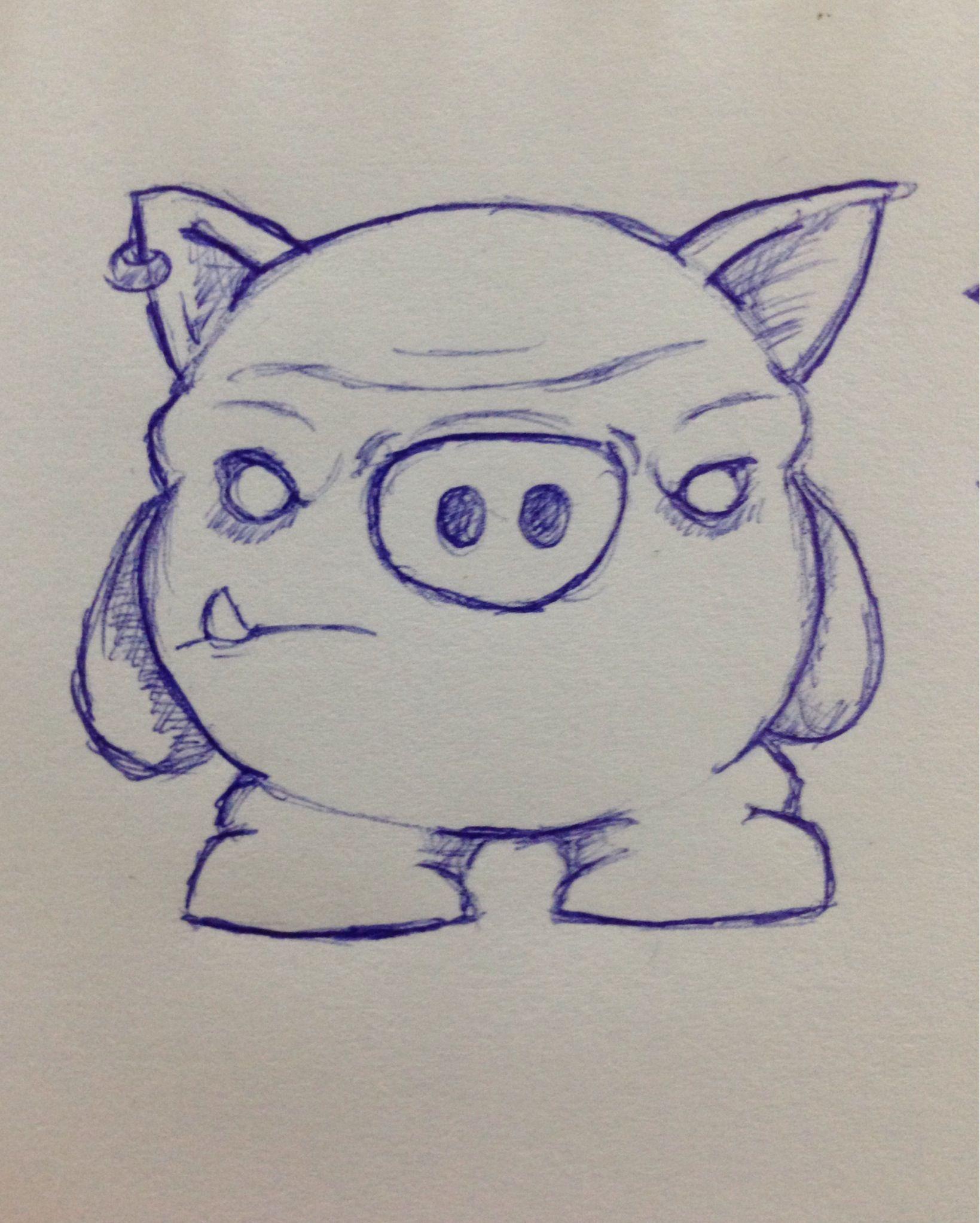 Evil pig pig drawing pig illustration pig art