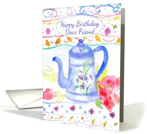 Happy Birthday Dear Friend Antique Blue Coffee Pot #Watercolor card